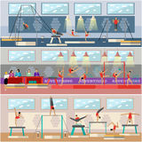Gymnastic sport competition arena interior vector illustration. Sportsman flat icons. Artistic and rhythmic gymnast Stock Photo