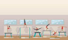 Gymnastic sport competition arena interior vector illustration. Sportsman flat icons. Artistic and rhythmic gymnast Stock Photography