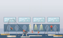 Gymnastic sport competition arena interior vector illustration. Sportsman flat icons. Artistic and rhythmic gymnast Royalty Free Stock Images