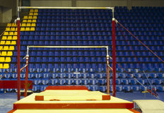 Gymnastic uneven bars. In sport hall Stock Photo