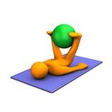 Gymnastics. Orange cartoon character makes gymnastics with medicine ball on blue mat Stock Images