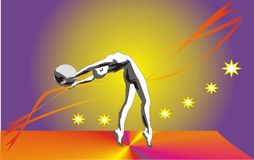 Gymnastics. Vector illustration, sportswoman  executing  gymnastics Stock Image