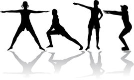 Gymnastics. Black people silhouettes . Vector Stock Photography