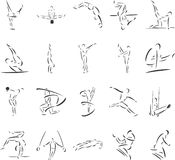 Gymnastics. 20 themed EPS images related to gymnastics. The number of vector nodes is absolute minimum. The images are very easy to use and edit and are Stock Image