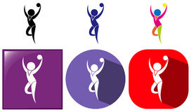 Gymnastics with ball icon in many designs. Illustration royalty free illustration