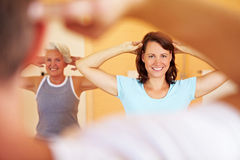 Gymnastics class in gym royalty free stock image