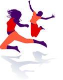 Gymnastics, dance. Gymnastics dance, silhouette, sport stage Royalty Free Stock Images