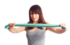 Gymnastics with elastic band Royalty Free Stock Photography