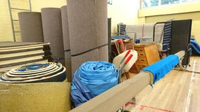 Gymnastics equipment storage area Royalty Free Stock Image