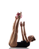 Gymnastics exercise with ball Stock Photos