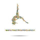 Gymnastics Floor Exercise Athlete. Isometric Athlete.Sporting Championship International Competition  illustration Royalty Free Stock Photos
