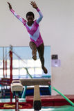 Gymnastics Girl Beam Jump Royalty Free Stock Images