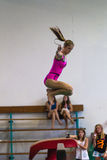 Gymnastics Girl Beam Jump Royalty Free Stock Image