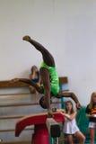 Gymnastics Girl Beam Flip Arial Somersault royalty free stock photo