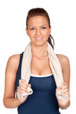 Gymnastics girl with a towel Royalty Free Stock Images