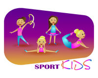 Gymnastics girl. Vector illustration sport kids. Stock Photos