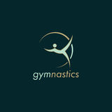 Gymnastics green vector logo design with dark background. Gymnastics vector. Green color design with dark green background Royalty Free Stock Photo