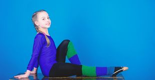Gymnastics. Happy child gymnast sportsman. Fitness diet. Energy. Acrobatics gym workout of teen girl. success. Childhood. Activity. Sport and health. artistic stock photo