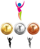 Gymnastics icon and sport medals Stock Image