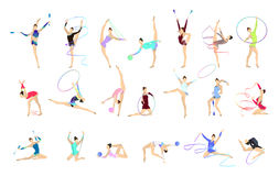 Gymnastics illustrations set. Women in outfit with gymnastic equipment as ball and tape Royalty Free Stock Image