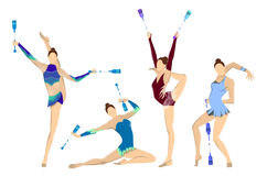 Gymnastics with indian clubs. Royalty Free Stock Photo