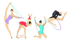 Gymnastics with jumping rope. Stock Images