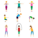Gymnastics kids set. Gymnastics for children and healthy lifestyle. Vector illustration Royalty Free Stock Photo