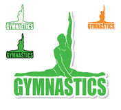 Gymnastics label. Sport label with silhouette of the gymnast Stock Illustration