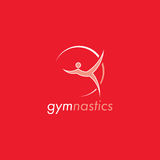 Gymnastics logo design. Red and white vector logo with red background. Gymnastics vector. Red and white color design with red background Royalty Free Stock Photos