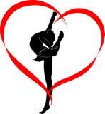 Gymnastics logo. Gymnastics with ribbon Branding Identity Corporate vector logo design template  on a white background Royalty Free Stock Photo