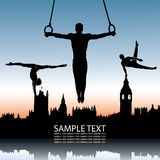 Gymnastics and London skyline. Vector illustration of gymnastics and London skyline Stock Illustration