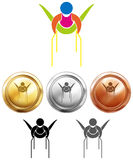Gymnastics on parellel bars and medals Royalty Free Stock Photo