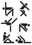 Gymnastics pictograms. Pictogram of figures doing gymnastics or dancing Stock Photos