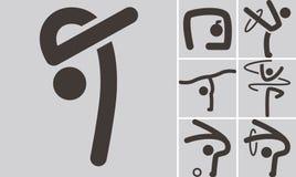 Gymnastics Rhythmic icons set Stock Images
