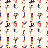 Gymnastics seamless pattern Royalty Free Stock Photos
