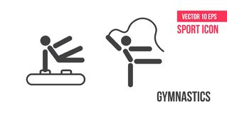 Gymnastics sign icon, logo. Set of sport vector line icons. Fitness, Aerobic and workout exercise in gym stock illustration