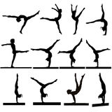 Gymnastics silhouettes. Silhouettes set of young gymnasts girls in exercises and in balance on beam Stock Photos