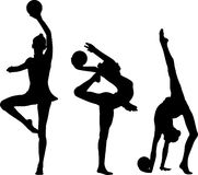 Gymnastics silhouettes. Silhouettes of gymnast girls with balls royalty free illustration