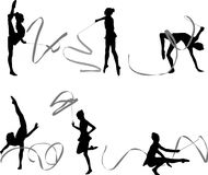 Gymnastics silhouettes. Silhouettes of gymnast girls with stripes vector illustration