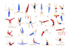 Gymnastics silhouettes set. Stock Photo