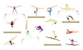 Gymnastics silhouettes set. Stock Image