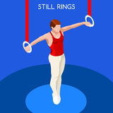 Gymnastics Still Rings Olympic Icon Set.3D Isometric Gymnast.Sporting Championship International Competition. Stock Image