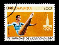 Gymnastics, Summer Olympic Games Moscow serie, circa 1980. MOSCOW, RUSSIA - JANUARY 2, 2018: A stamp printed in Mozambique shows Gymnastics, Summer Olympic Games Stock Images
