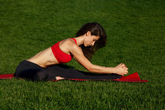 Gymnastics on a sunny day. Woman practices yoga in nature Stock Images
