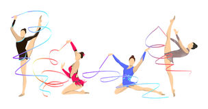 Gymnastics with tape. Women in outfit with tape vector illustration