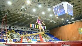 Gymnastics, Ukraine Nation CUP (Stella Zakharova Cup) 2015, Kiev, Ukrainem. KIEV - MAY 24: Yana Fedorova (Ukraine) during Ukraine Nation CUP (Stella Zakharova stock video footage