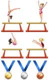 Gymnastics and woman athletes. Illustration Stock Image