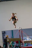 Gymnastics Girl Beam Jump Flight Royalty Free Stock Images