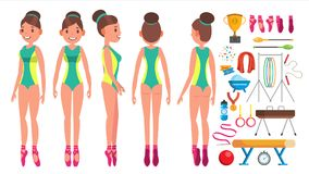 Gymnastics Female Vector. Beauty Performance. Sport. Choreography. Isolated Flat Cartoon Character Illustration. Gymnastics Young Woman Player Vector. Gymnastic Stock Photos