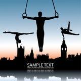 Gymnastiek en de horizon van Londen stock illustratie